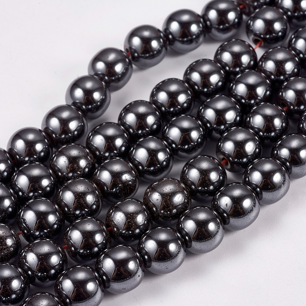 PandaHall_NonMagnetic_Synthetic_Hematite_Beads_Strands_Round_Black_8mm_Hole_15mm_about_53pcsstrand_Nonmagnetic_Hematite_Round