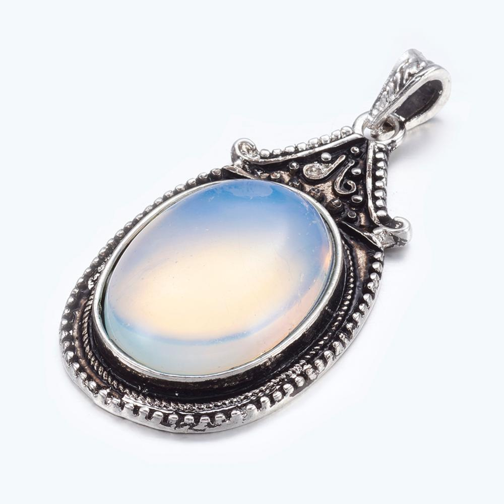 PandaHall Opalite Big Pendants, With Alloy Findings, Antique Silver Color, Oval, White, Size: About 29mm Wide, 56mm Long, 11mm Thick, Hole...