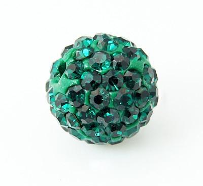 PandaHall Pave Disco Ball Beads, Polymer Clay Rhinestone Beads, Grade A, Round, Emerald, 8mm, Hole: 1mm Polymer Clay+Glass Rhinestone Round