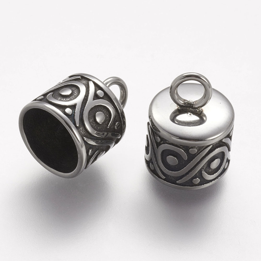 PandaHall_304_Stainless_Steel_Cord_Ends_Antique_Silver_135x10mm_Hole_3mm_Stainless_Steel