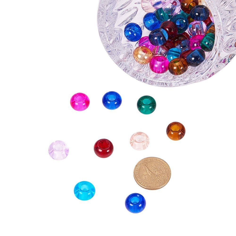 PandaHall_Glass_European_Beads_Large_Hole_Beads_Rondelle_Mixed_Color_15x10mm_Hole_5mm_Glass_Rondelle_Multicolor