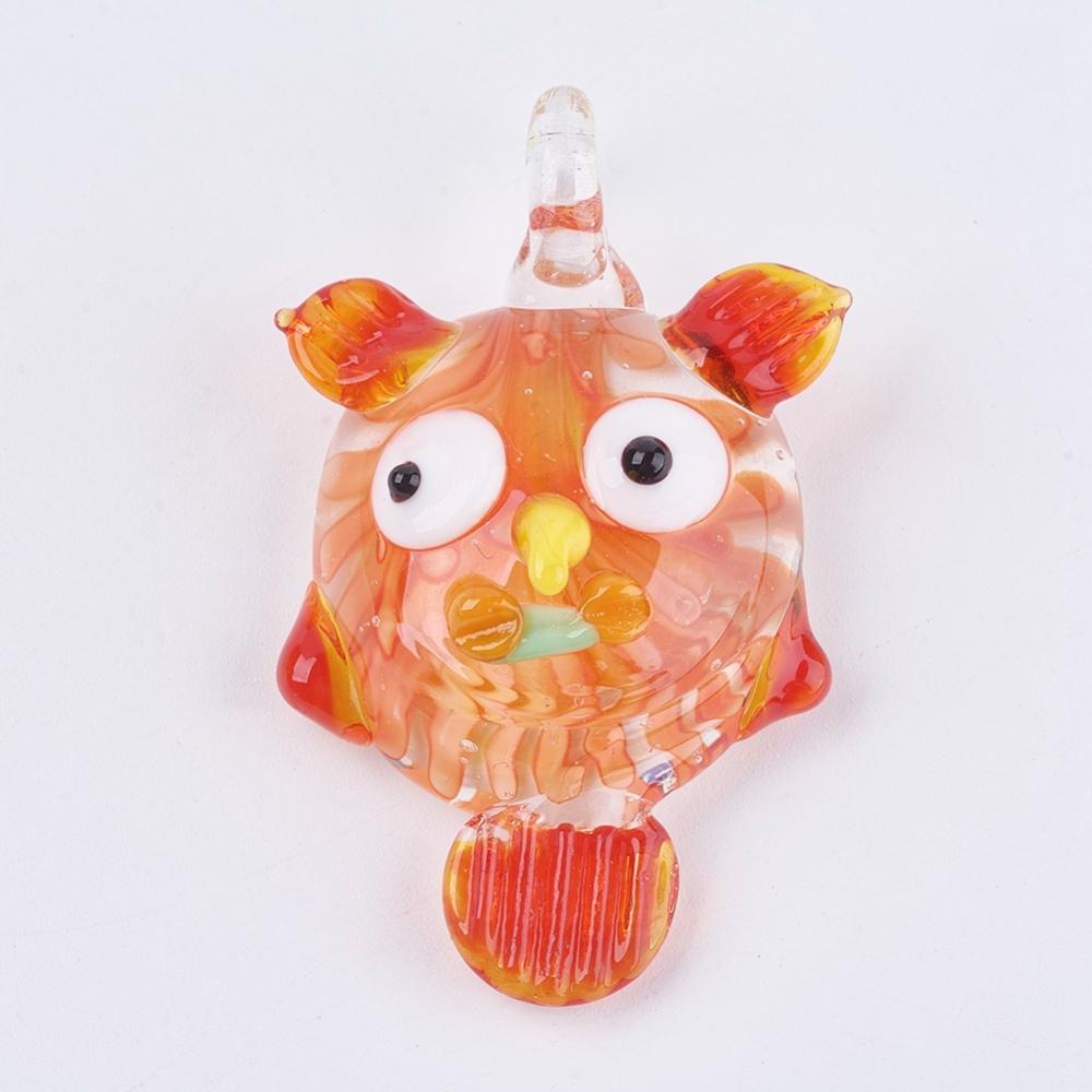 PandaHall_Handmade_Lampwork_Big_Pendants_Large_Hole_Pendants_Owl_Orange_52~54x33~36x13~14mm_Hole_6mm_Lampwork_Owl_Orange