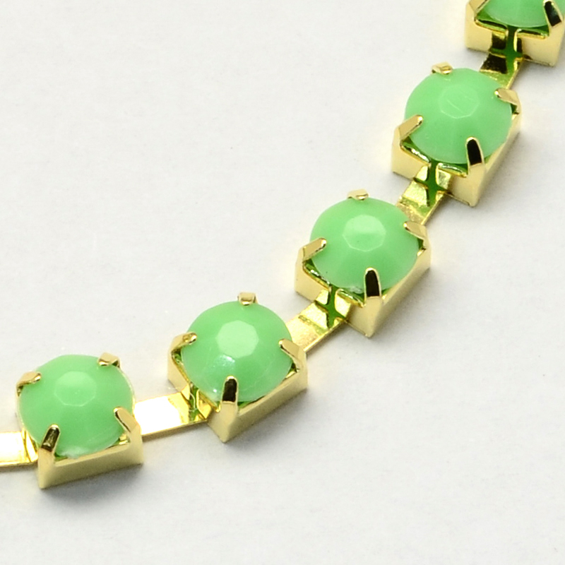 PandaHall Golden Tone Iron Acrylic Claw Chains, LightGreen, 6mm; about 20m/bundle Iron+Acrylic Rhinestone Green