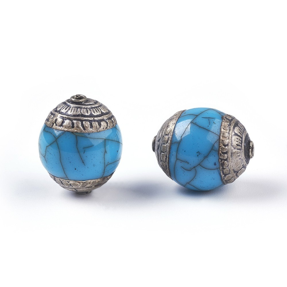 PandaHall_Tibetan_Style_Beads_with_Brass_Synthetic_Turquoise_Oval_Antique_Silver_LightSkyBlue_18~20x15~16mm_Hole_14mm_Synthetic