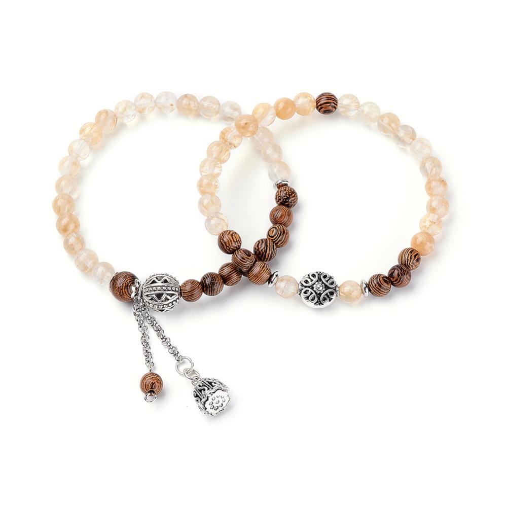 PandaHall Watermelon Stone Glass Beads Stretch Bracelets, with Wood Beads, Tibetan Style Alloy Beads and Brass Pendants, 2-1/8