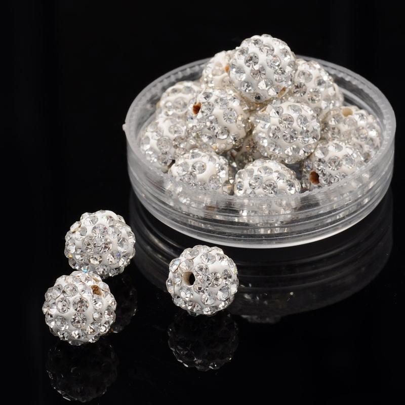 PandaHall_Pave_Disco_Ball_Beads_Polymer_Clay_Rhinestone_Beads_Round_Crystal_10mm_Hole_15mm_Polymer_ClayGlass_Rhinestone_Round_White
