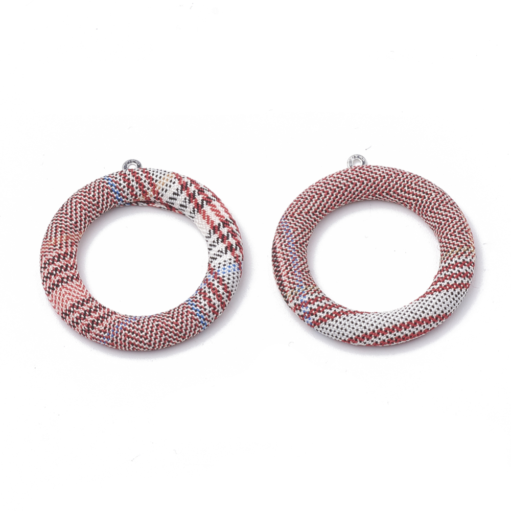 PandaHall_Cloth_Fabric_Covered_Pendants_with_Aluminum_Bottom_Ring_Platinum_IndianRed_40x36x4mm_Hole_1mm_Cloth_Ring_Red