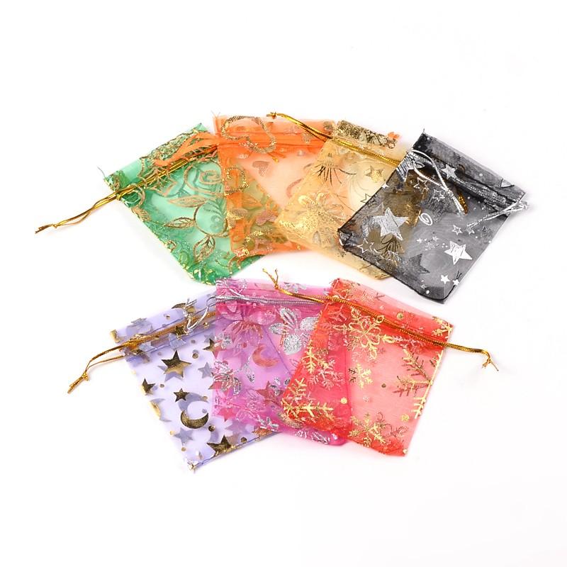 PandaHall_Organza_Bags_Mixed_Color_9~10x11~12cm_Organza_Rectangle_Multicolor