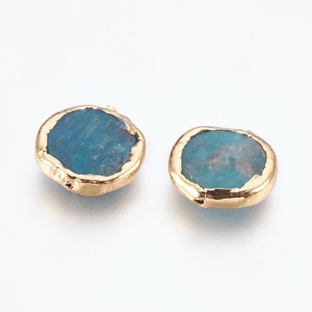 PandaHall_Natural_Apatite_Beads_Edge_Real_Gold_Plated_Flat_Round_14~15x4~5mm_Hole_07mm_Apatite_Flat_Round