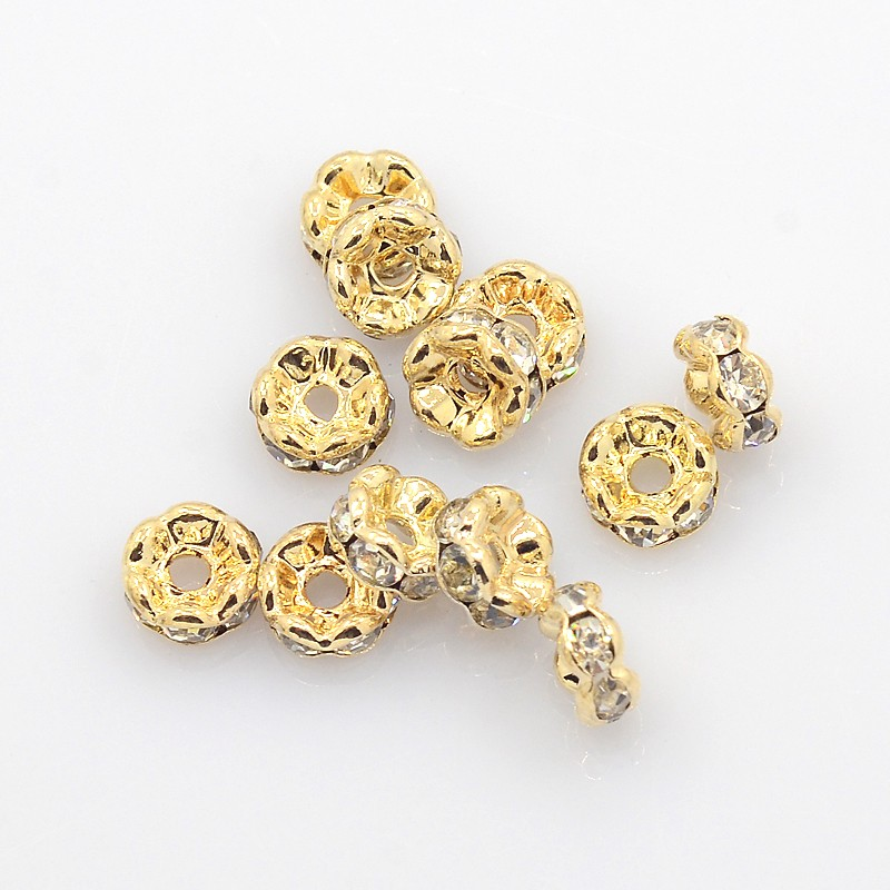 PandaHall_Brass_Rhinestone_Spacer_Beads_Grade_AAA_Wavy_Edge_Nickel_Free_Light_Gold_Metal_Color_Rondelle_Crystal_6x3mm_Hole_1mm