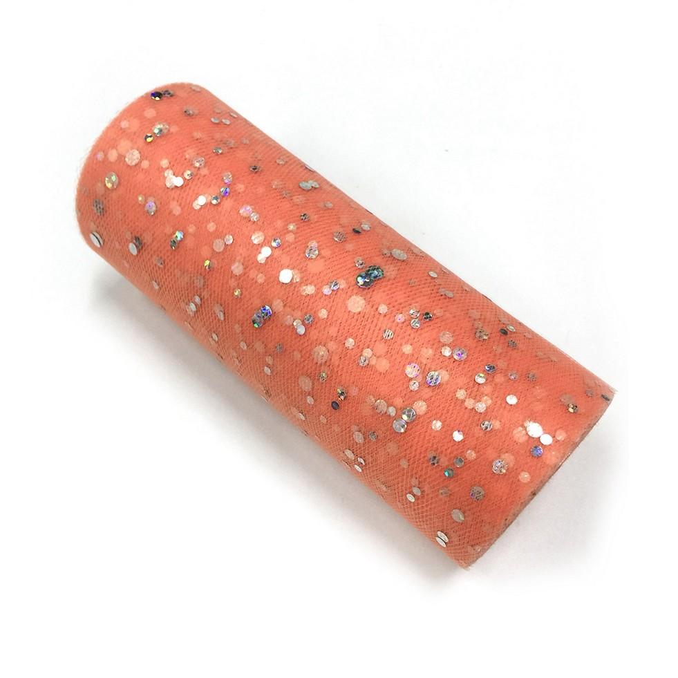 PandaHall_Glitter_Sequin_Netting_Fabric_Tulle_Roll_Spool_Fabric_For_Skirt_Making_Tomato_615cm_about_25yardsroll2286mroll