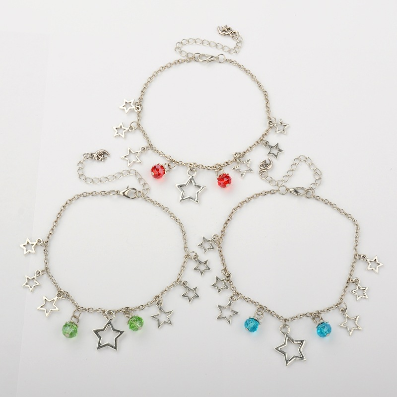 PandaHall Tibetan Style Alloy Star Charm Anklets, Iron Cable Chains with Gla..