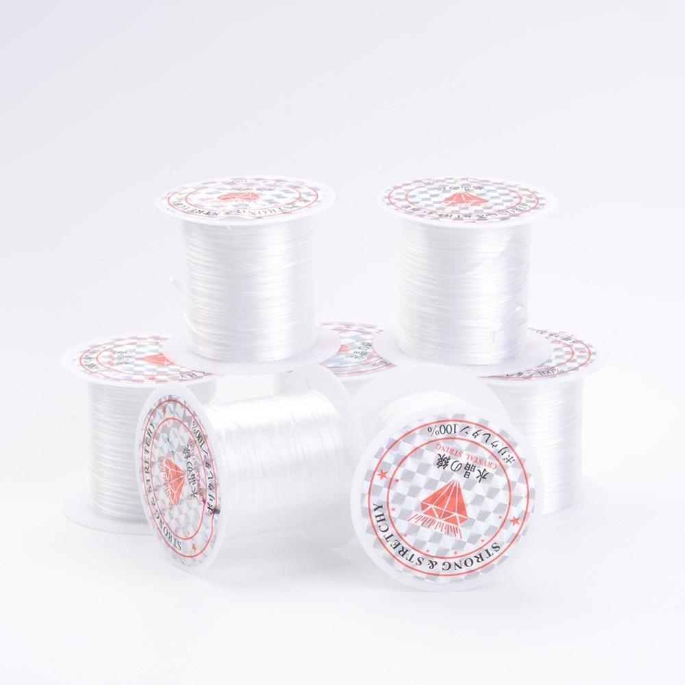 PandaHall_Elastic_Fibre_Wire_White_08mm_10mroll_25rollsbag_Elastic_Fibre_White