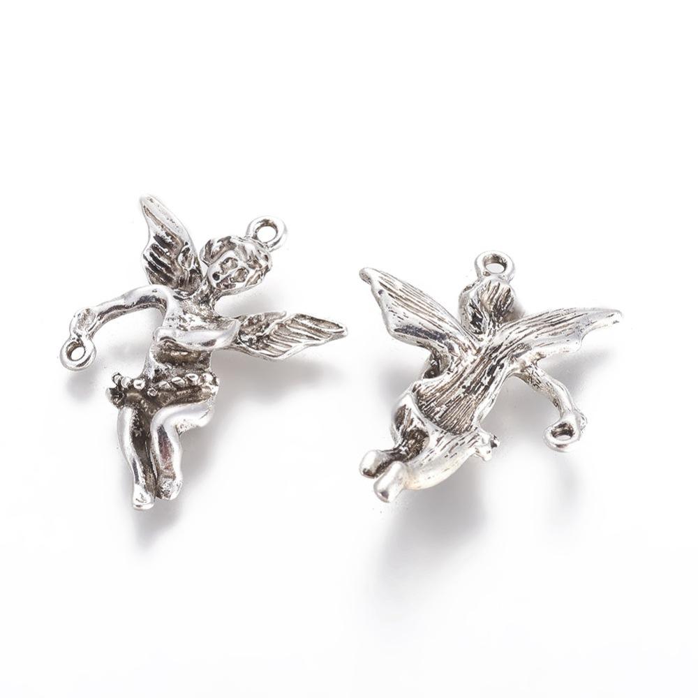 PandaHall Tibetan Style Pendants, Cherub with Loop, Cadmium Free & Lead Free, Antique Silver, 37x26x7mm, Hole: 1~2mm Alloy Angel & Fairy