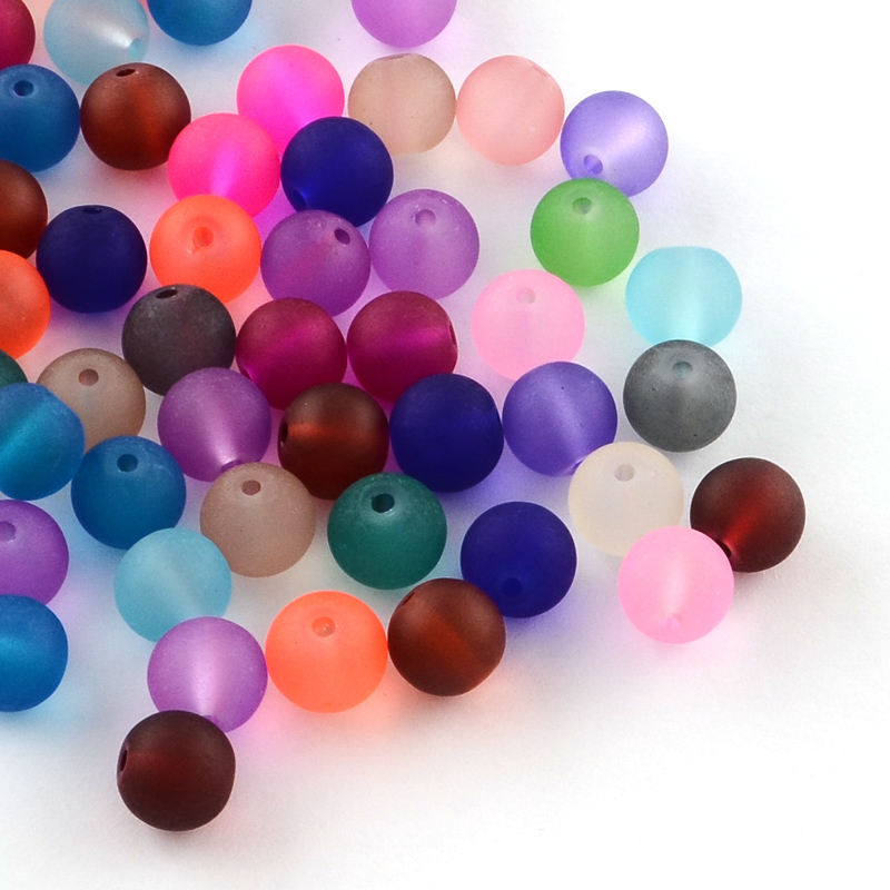 PandaHall_Transparent_Frosted_Glass_Beads_Round_Mixed_Color_4~45x4mm_Hole_1mm_about_100pcsbag_Glass_Round_Multicolor