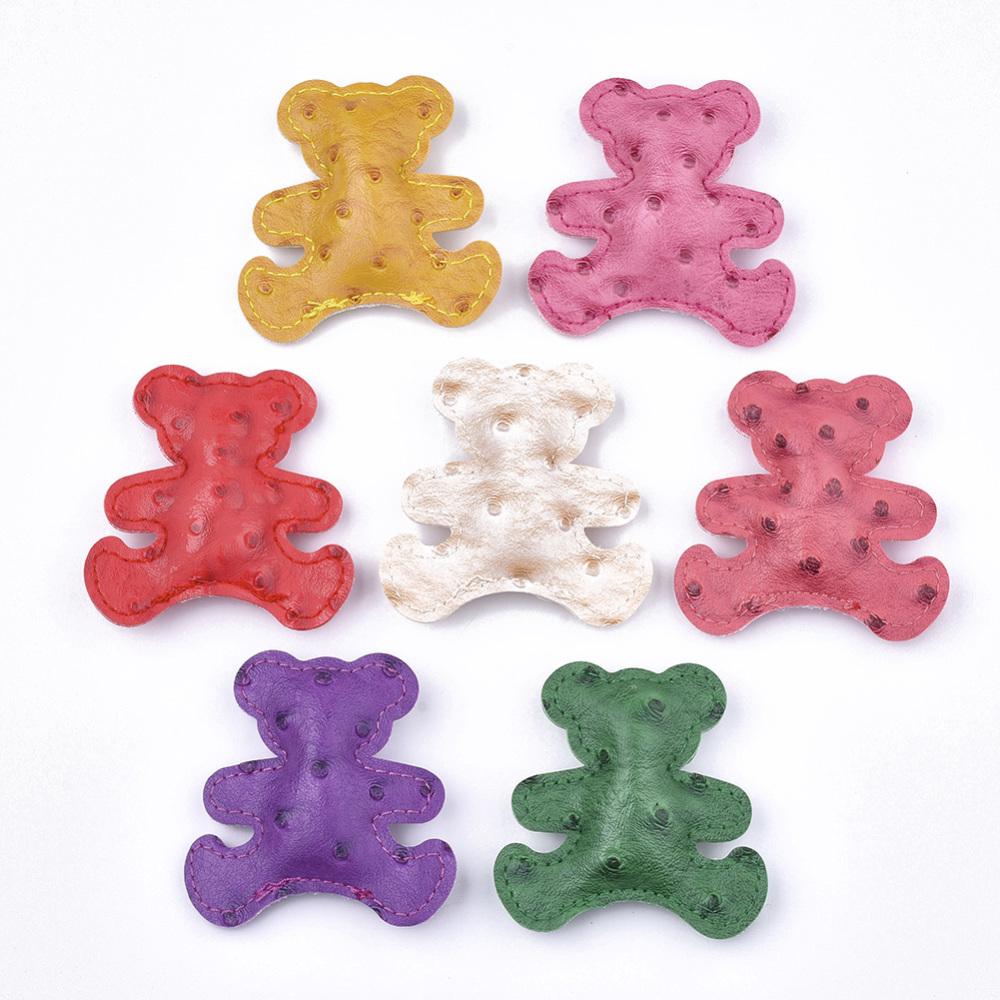 PandaHall_Imitation_Leather_Big_Pendants_Inner_Silk_Wadding_Bear_Mixed_Color_64x64x16mm_Hole_1mm_Imitation_Leather_Bear_Multicolor