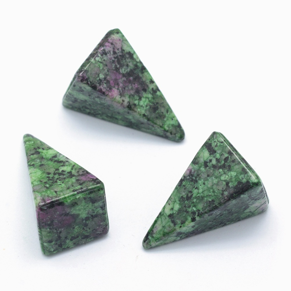 PandaHall Natural Ruby in Zoisite Beads, Cone, Undrilled/No Hole Beads, 25x14x14.5mm Ruby in Zoisite Cone