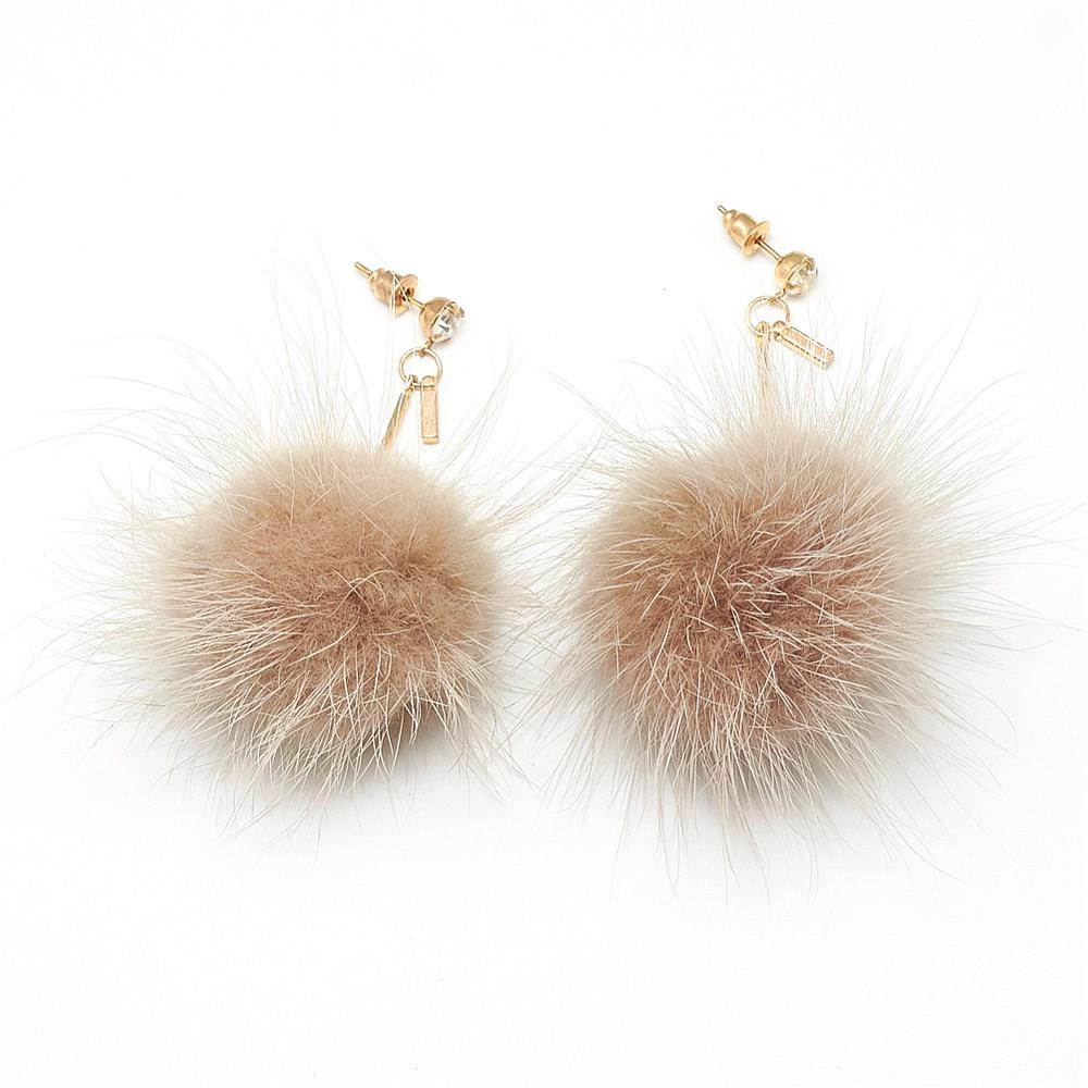 PandaHall_Mink_Fur_Pom_Pom_Ball_Dangle_Ear_Studs_Camel_70~80mm_Pin_08mm_Feather_Brown
