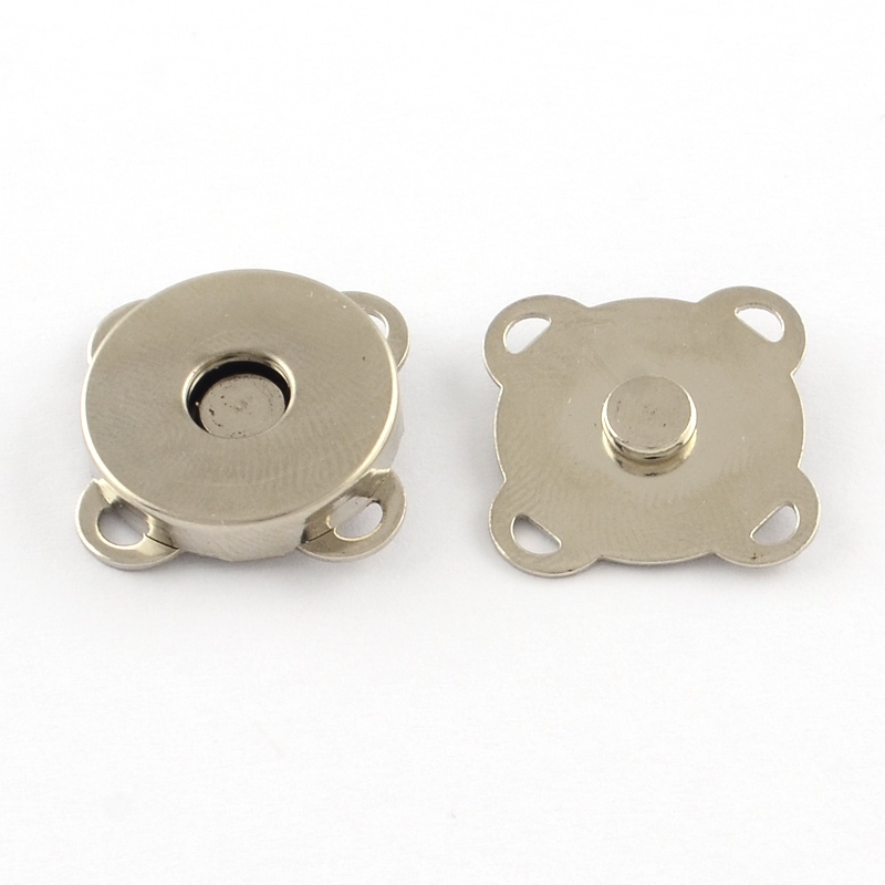 PandaHall Iron Purse Snap Clasps, Closure for Purse Handbag, Platinum, 19x19x7mm, Hole: 1.5x2mm Iron (IFIN-R203-68P 1073675) photo