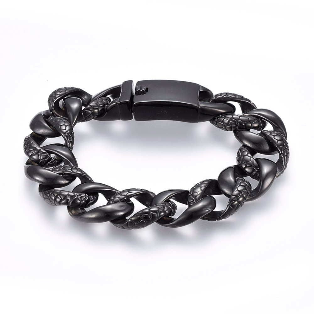 PandaHall_304_Stainless_Steel_Bracelets_with_Bayonet_Clasps_Gunmetal_923cm_18x6mm_Stainless_Steel