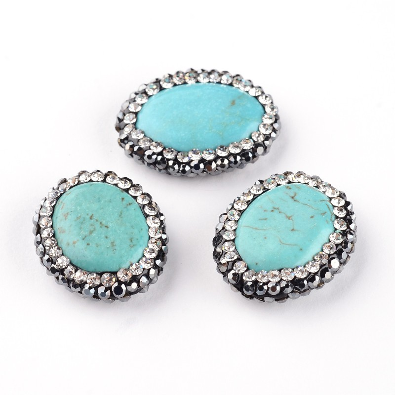 PandaHall_Dyed_&_Heated_Oval_Natural_Howlite_Beads_with_Polymer_Clay_Rhinestone_19~20x16x4~5mm_Hole_05mm_Howlite_Oval