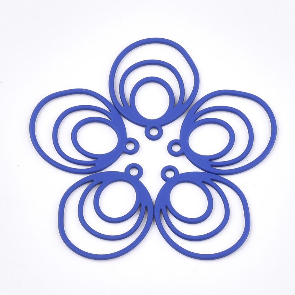 PandaHall_Spray_Painted_Alloy_Pendants_Oval_Blue_26x21x1mm_Hole_2mm_Alloy_Oval_Blue