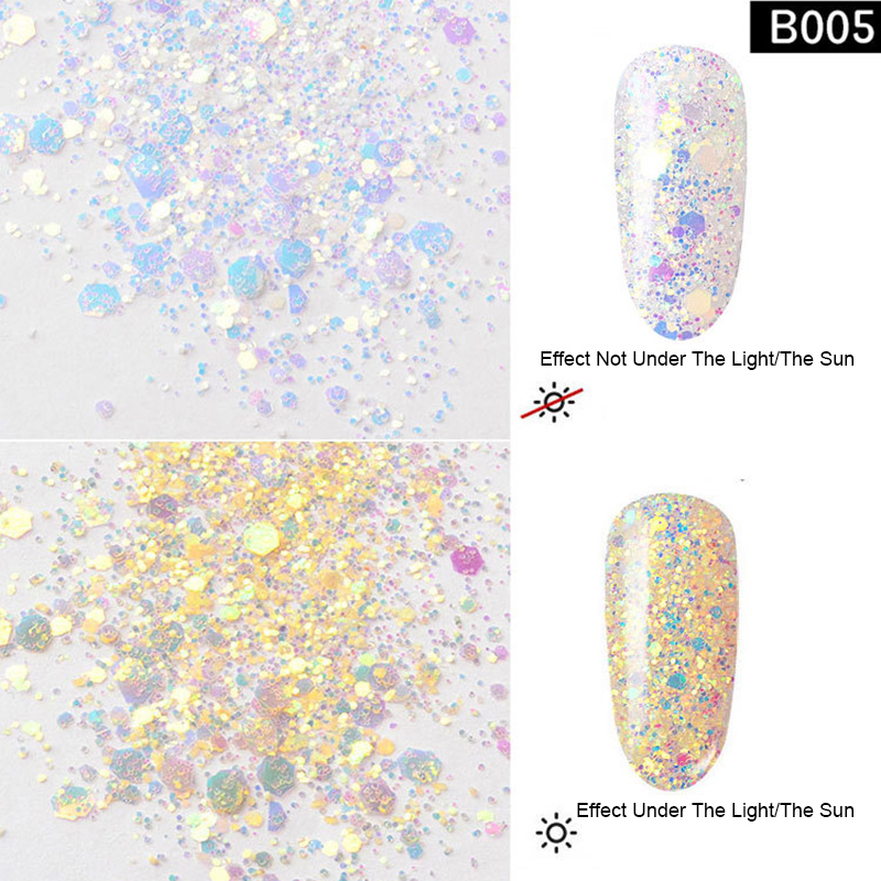 PandaHall_Laser_Shining_Nail_Art_Glitter_Manicure_Sequins_DIY_Sparkly_Paillette_Tips_Nail_PaleGoldenrod_about_1gbox_Plastic_Others