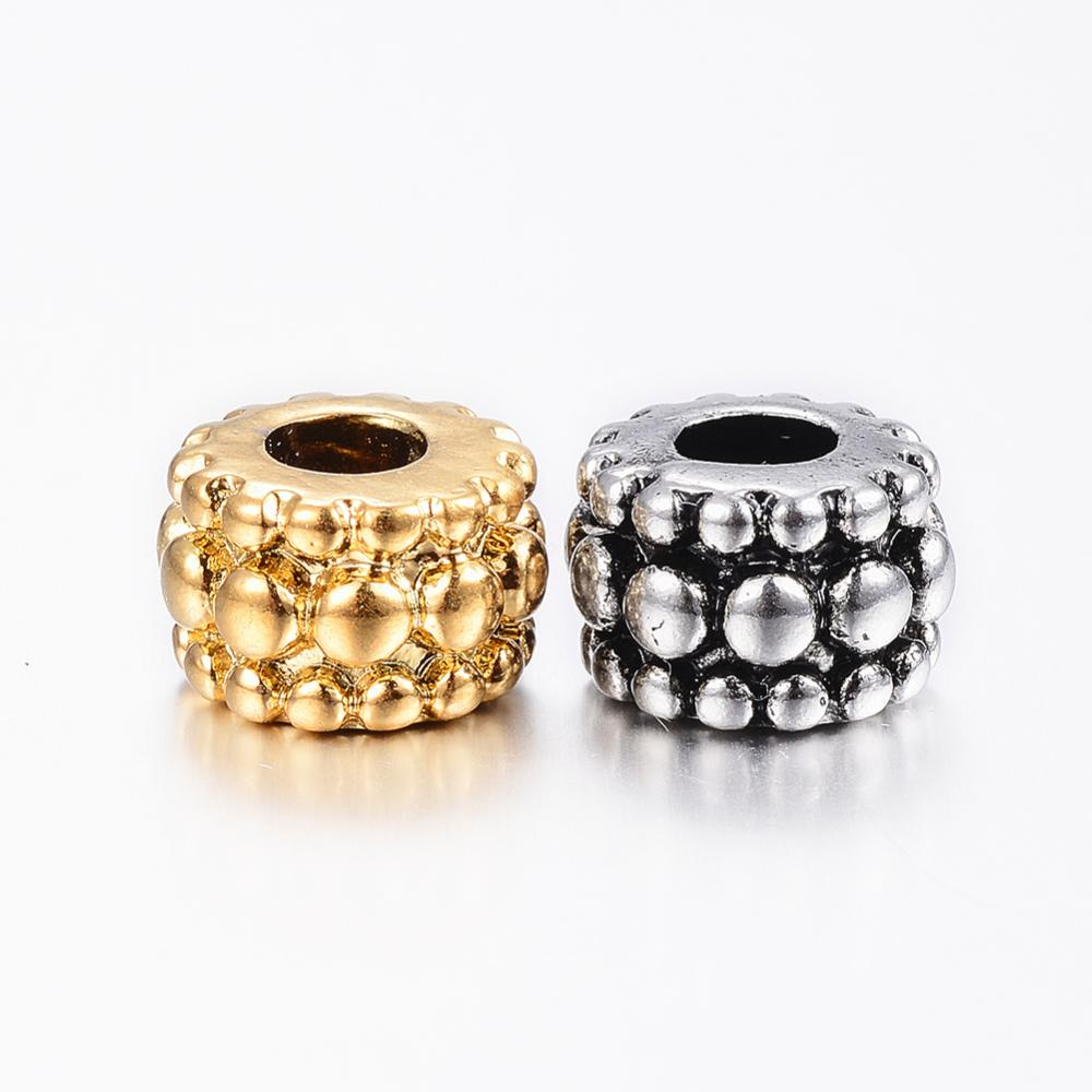 PandaHall 304 Stainless Steel European Beads, Large Hole Bumpy Beads, Barrel, Mixed Color, 12x8mm, Hole: 5mm Stainless Steel Barrel...