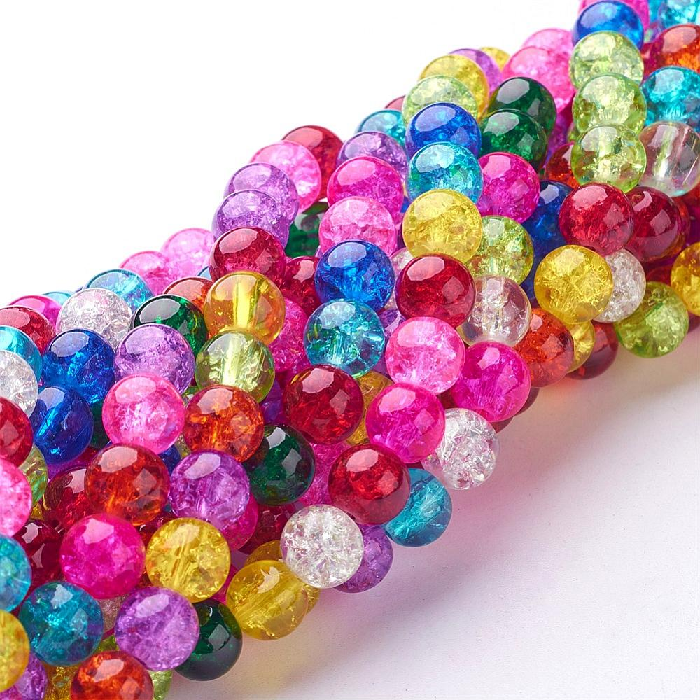 PandaHall_Crackle_Glass_Beads_Strands_Round_Mixed_Color_8mm_Hole_1mm_about_48pcsstrand_16_Glass_Round_Multicolor