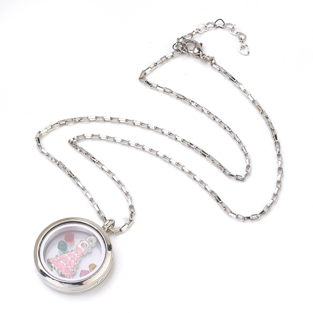 PandaHall_304_Stainless_Steel_Venetian_Chain_Pendant_Necklaces_with_Alloy_Photo_Frame_Living_Memory_Floating_Locket_Pendants_and_Czech