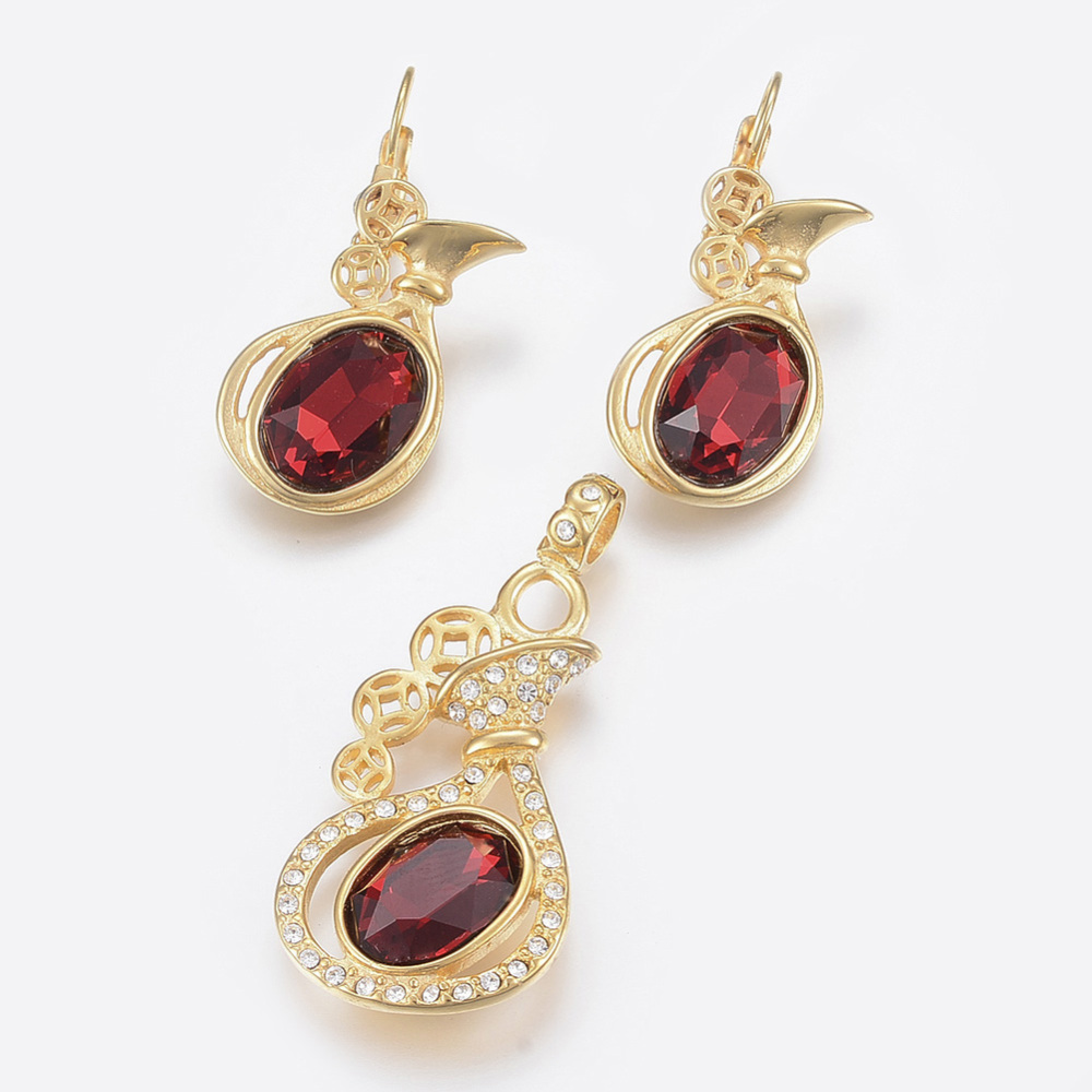 PandaHall_304_Stainless_Steel_Jewelry_Sets_Pendants_and_Leverback_Earrings_with_Glass_Rhinestone_Purse_with_Oval_Golden_Brown_Pendants