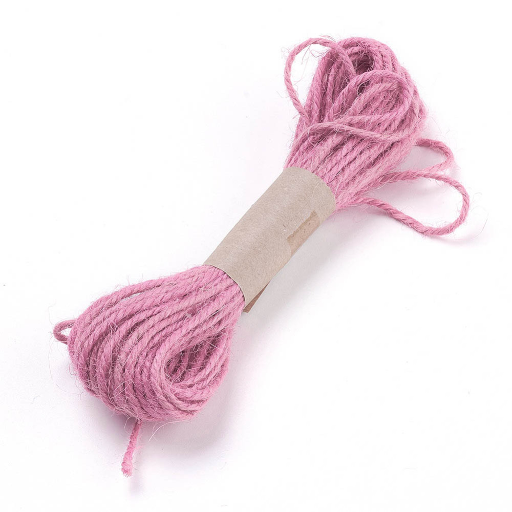 PandaHall Hemp Cord Twine String, for Jewelry Making, 3-Ply, Flamingo, 2mm; 10yard/bundle Hemp Pink