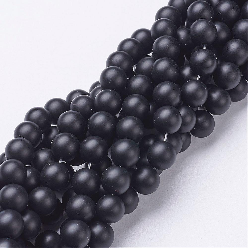 PandaHall_Natural_Black_Agate_Beads_Strands_Grade_A_Frosted_Round_Dyed_&_Heated_8mm_Hole_1mm_about_48pcsstrand_155_Black_Agate