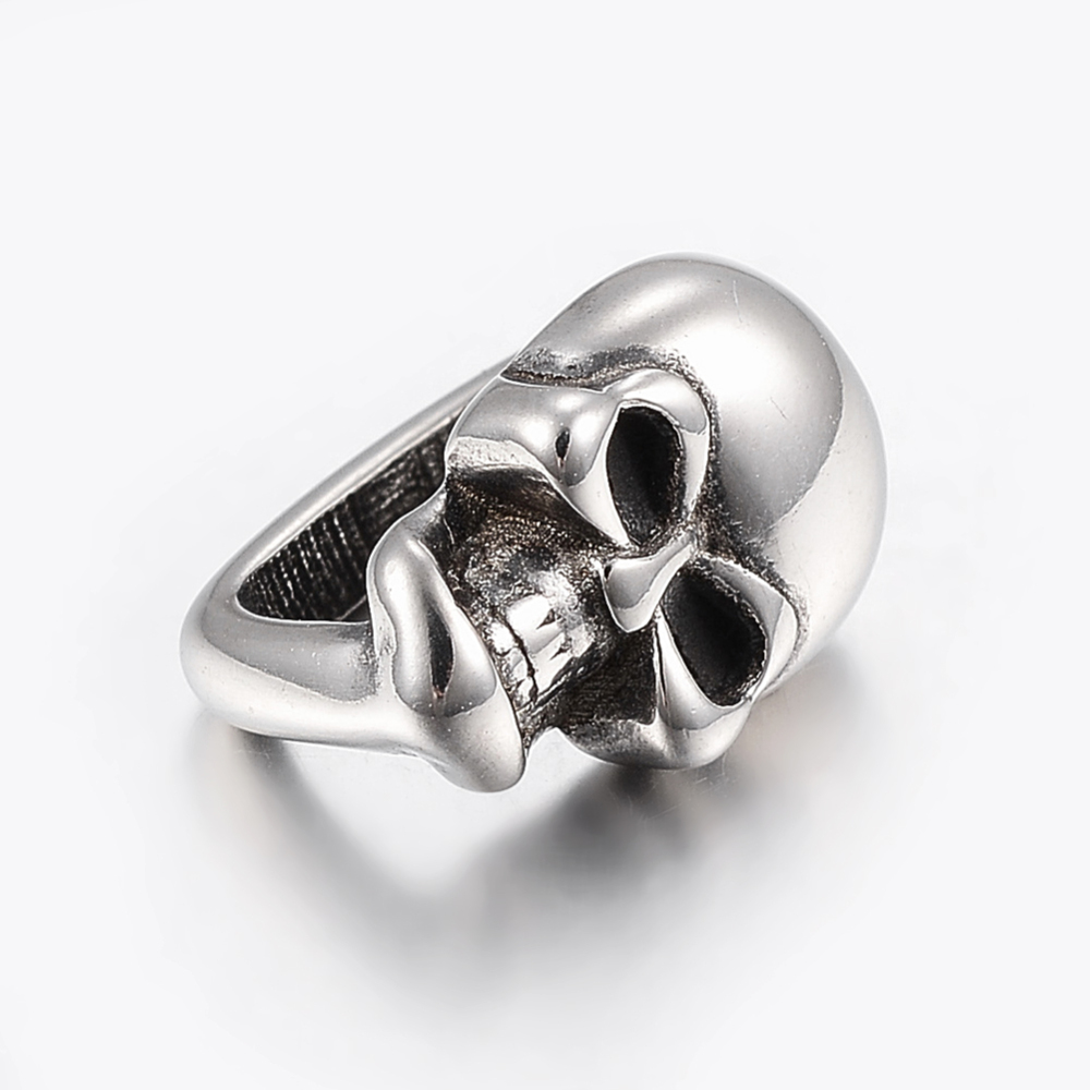 PandaHall_304_Stainless_Steel_Slide_Charms_Skull_Antique_Silver_155x10x12mm_Hole_7x12mm_Stainless_Steel_Skull