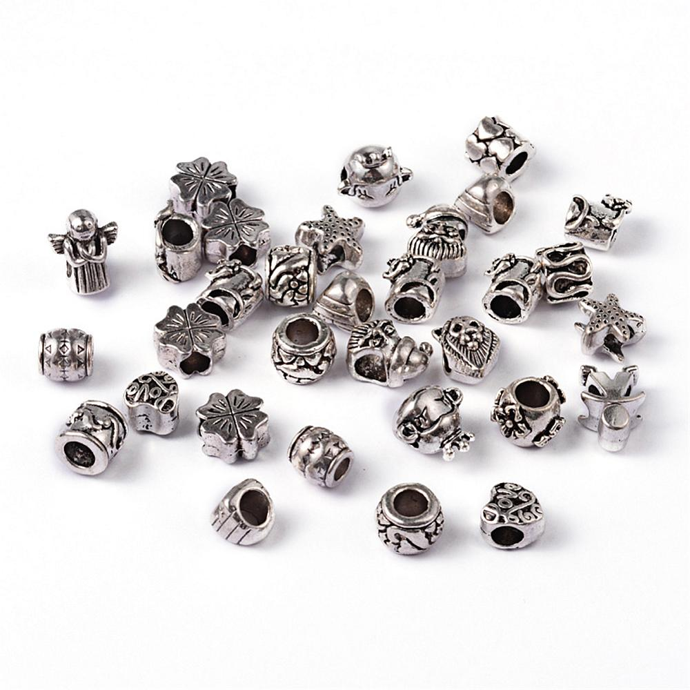 PandaHall_Alloy_European_Beads_Large_Hole_Beads_Antique_Silver_Color_Size_about_7~13mm_long_round_4~5mm_in_diameter_Alloy_Others