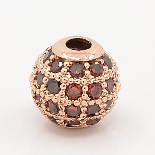 PandaHall Sienna CZ Jewelry Findings Brass Micro Pave Cubic Zirconia Round Beads, Grade AAA, Lead Free & Cadmium Free & Nickel Free, Rose...
