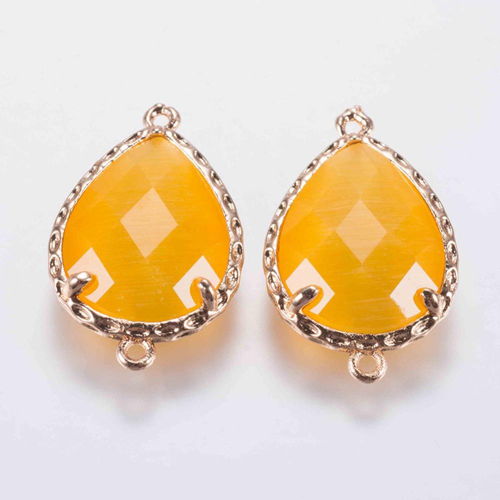 PandaHall_Glass_Links_with_Brass_Finding_Faceted_Drop_Golden_Gold_235x145x5mm_Hole_08mm_Brass_Drop_Gold