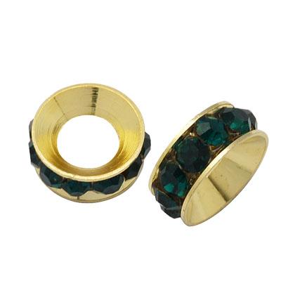 PandaHall Brass Rhinestone Spacer Beads, Grade A, Rondelle, Golden Metal Col..