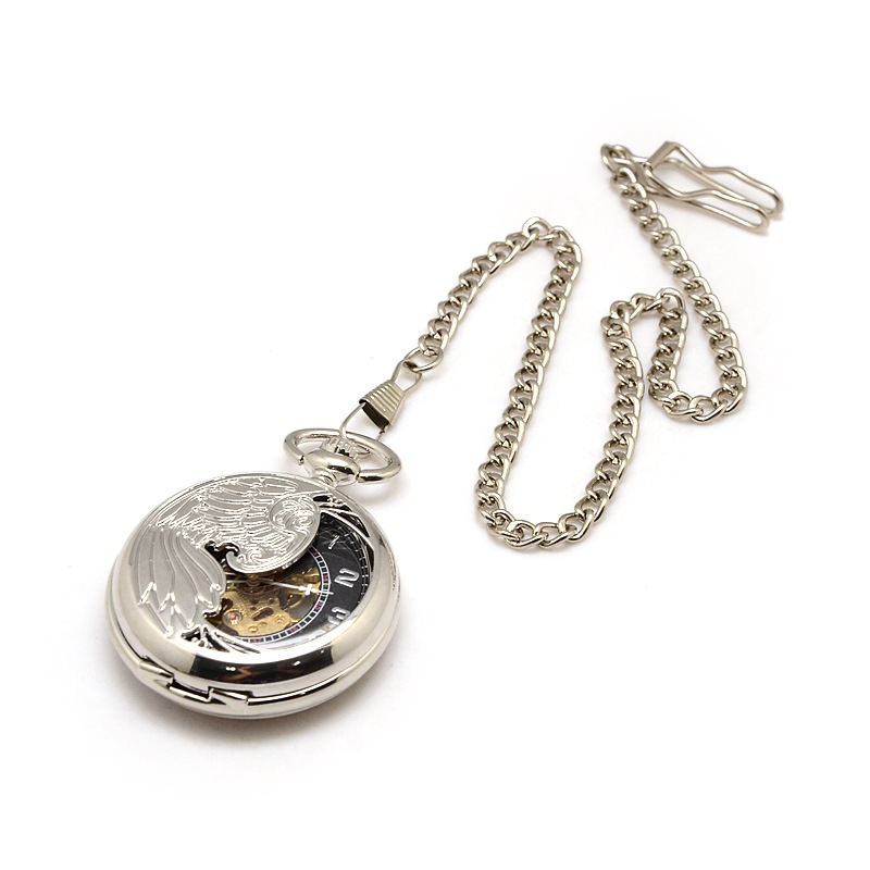 PandaHall Steampunk Jewelry Alloy Flat Round Pendant Mechanical Pocket Watch..