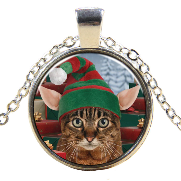 PandaHall_Christmas_Theme_Glass_Pendant_Necklaces_with_Alloy_Findings_Flat_Round_with_Cat_Silver_17745cm_Pendant_27mm_Glass