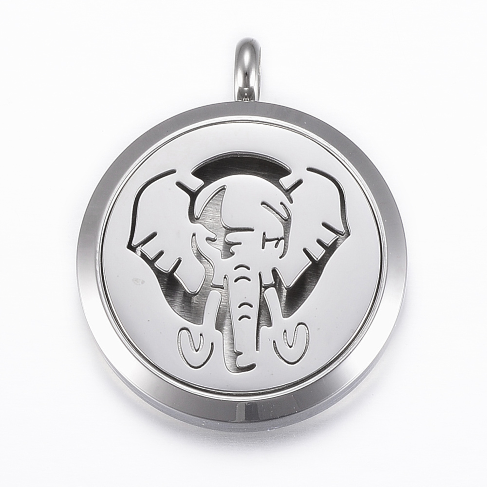 PandaHall_316_Stainless_Steel_Diffuser_Locket_Pendants_with_Perfume_Pad_and_Magnetic_Clasps_Flat_Round_with_Elephant_Stainless_Steel