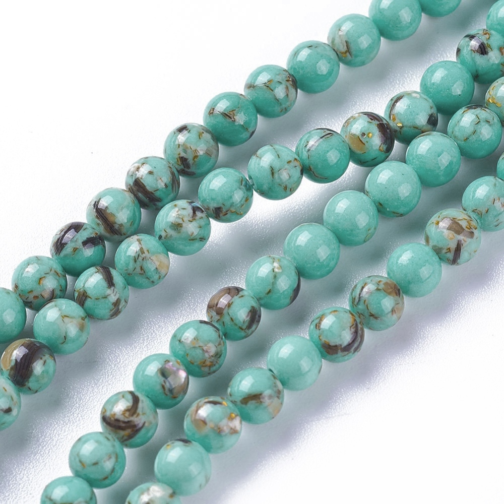 PandaHall_Synthetic_Turquoise_and_Sea_Shell_Assembled_Beads_Strands_Round_MediumAquamarine_4~45mm_Hole_06mm_about_90~93pcsstrand