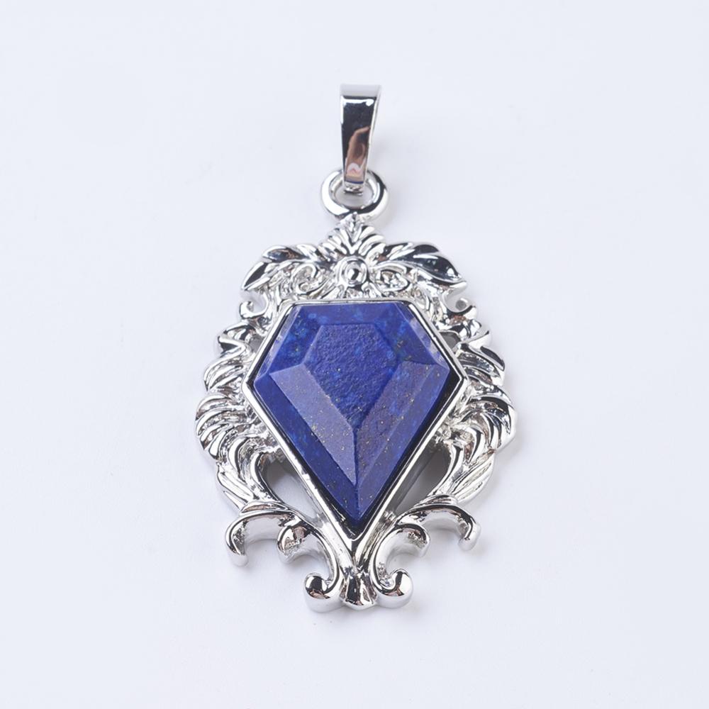 PandaHall Natural Lapis Lazuli Pendants, with Brass Findings, Flower with Diamond Shape, Platinum, 41.5x26x7.5~8mm, Hole: 5x7.5~8mm Lapis...