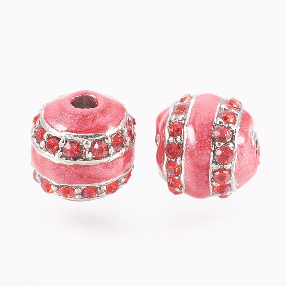 PandaHall_Alloy_Rhinestone_Enamel_Beads_Red_11mm_Hole_3mm_Alloy_RhinestoneEnamel_Round_Red