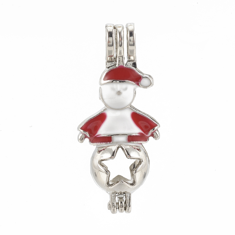 PandaHall_Alloy_Bead_Cage_Pendants_with_Enamel_Christmas_Santa_Claus_Red_34x15x9mm_Hole_45x4mm_Inner_Measure_8mm_Alloy_Human_Red