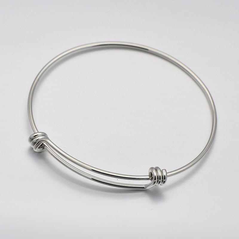 PandaHall Brass Bangle Making, Platinum, 57x62mm Brass