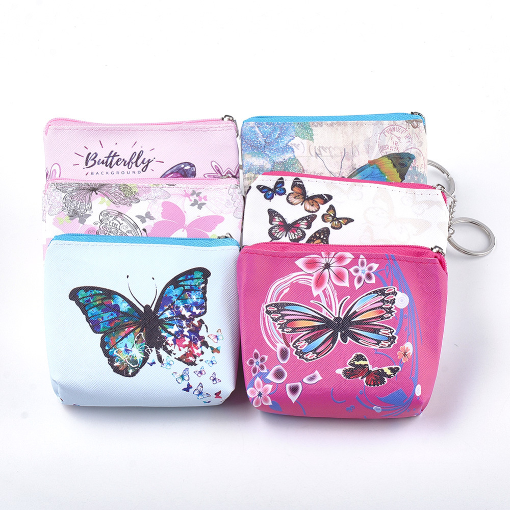 PandaHall PVC Clutch Bags, Change Purse, with Iron Ring, Butterfly Pattern, Mixed Color, 93~95x103~109x22~24mm Plastic Multicolor (ABAG-S005-04D 1763045) photo