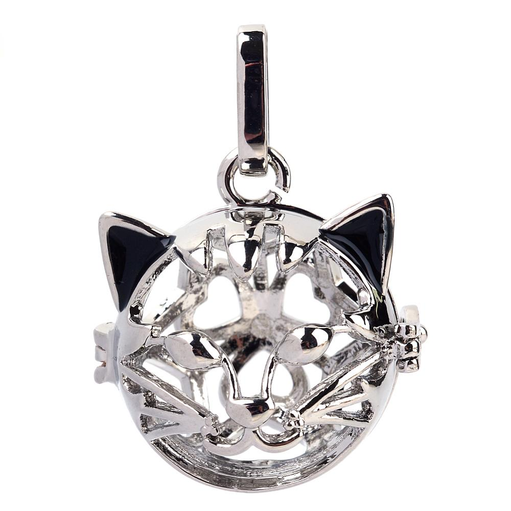PandaHall Rack Plating Brass Cage Pendants, For Chime Ball Pendant Necklaces Making, Hollow Cat, Platinum, 26x25x25mm, Hole: 4x8mm; Inner...