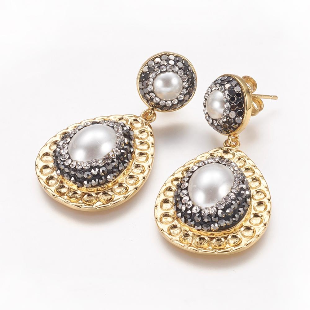 PandaHall Real Gold Plated Brass Stud Earrings, with Ear Nuts, Pearl and Pol..