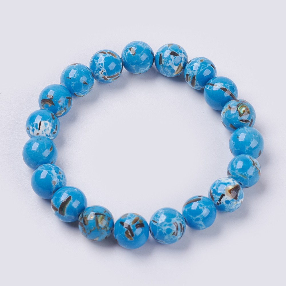 PandaHall_Natural_Sea_Shell_and_Synthetic_Turquoise_Assembled_Beaded_Stretch_Bracelet_Round_DodgerBlue_25cm_Beads_10mm_Synthetic